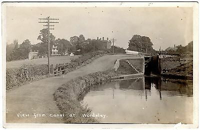 Real Photo Postcard Man Sat Below Canal Lock-Bicycle On Towpath-Wordsley Village