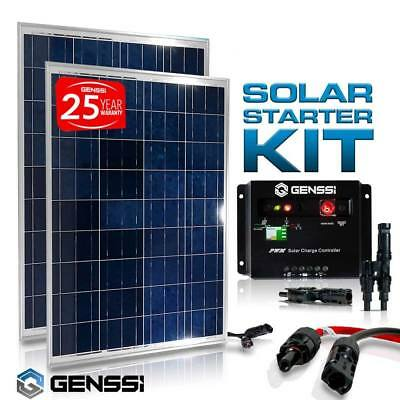200W Solar Panel Kit Controller with MC4 wires Spliters RV Boat Marine Off Grid