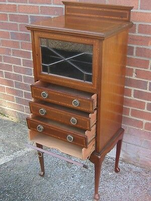 Edwardian antique astragal glazed mahogany music filing cabinet chest of drawers