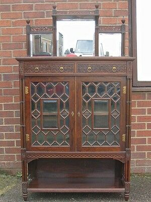 Collinson & Lock antique Victorian Aesthetic astragal glazed rosewood cabinet