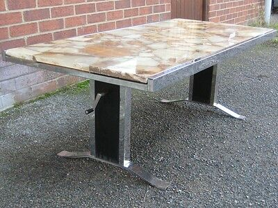 1960s vintage chrome metal marble stone retro adjustable occasional coffee table