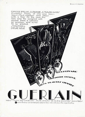 GUERLAIN Perfume Ad 1927 by LEONARD Art Deco TRAVERS CHAMPS Guerlinade Candide