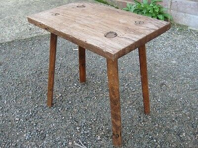 Victorian antique rustic solid elm country farmhouse milking stool footstool