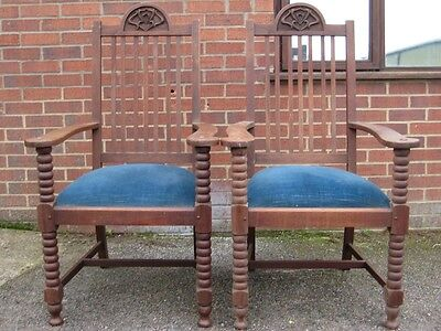 Pair 2 antique Art Nouveau solid carved mahogany throne carver dining chairs