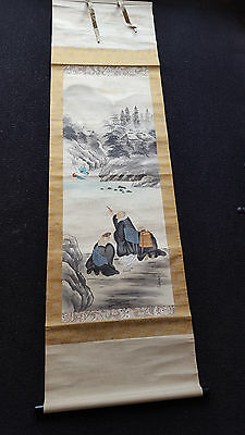 Old Oriental Japanese/Chinese Ink & Watercolour Painting on Silk Scroll - Signed