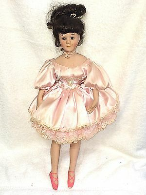 "Pretty 16"" Bisque Head Arms Legs Cloth Body Ballerina Doll Made in China w Stand"