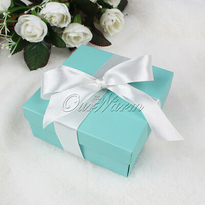 10/50/100/200 Turquoise Ribbon Bow Candy Box Wedding Favor Sweets Chocolates Box