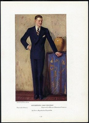 HANDSOME MAN in Suit Fashion 1930's Double Breasted Successful Businessman Ad