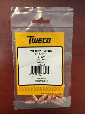 "Tweco VTS30 Velocity Contact Tips .030""  1110-1309 - QTY 10"