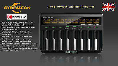 GYRFALCON All 88 8 LCD Control Battery Universal Ni-MH Li-Ion LiFePO4 Charger UK