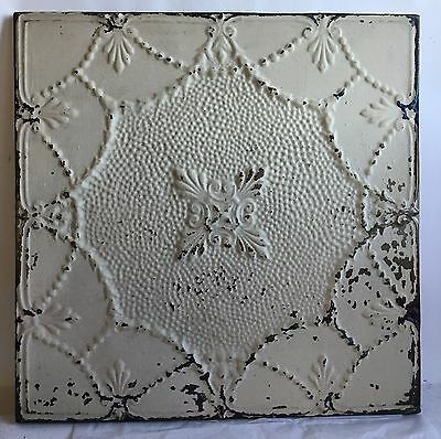 23 x 23 Antique Tin Ceiling Tile Ivory Wrapped Wall Art Anniversary C6 Reclaimed