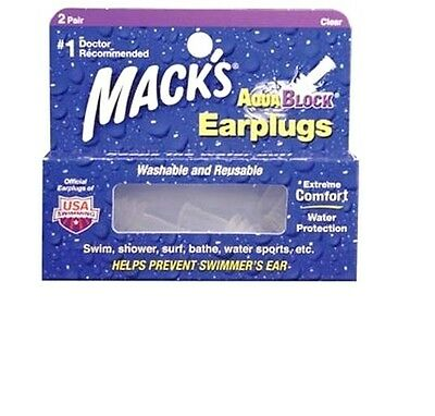 Macks 2 pair Clear Aqua Block Reuseable swimming ear plugs swimmers water w case