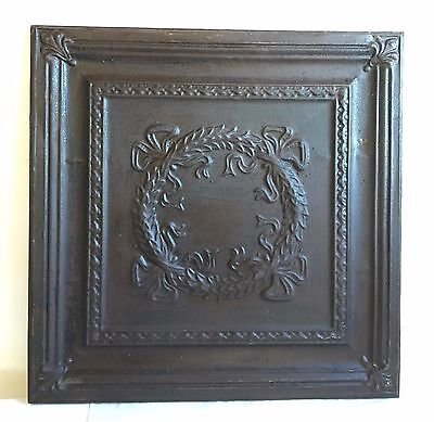 23 x 23 Antique Bare Tin Ceiling Rust Wrapped Wall Art C8 Reclaimed