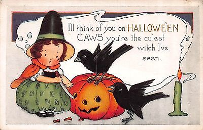 Halloween Postcard Little Witch Girl Carving a Jack-O-Lantern w/ Crows~108621