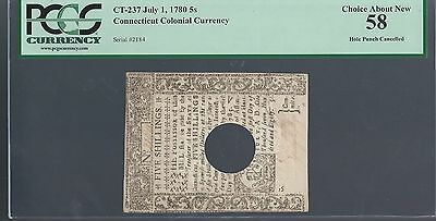 1780 Five 5 Shillings  Connecticut Colonial Currency  Hole Punch Cancell Pcgs 58