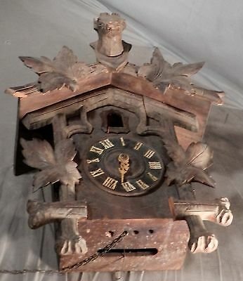 Antique AS IS Black Forest Cuckoo Clock Wood Carving Deer Head GK Movement KIT