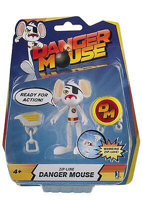 Danger Mouse 3 Inch Figure - Zip Line Danger Mouse  *BRAND NEW*
