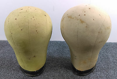 Lot/2 Vintage Cloth Canvas Hat or Wig Form Display Head Millinery Cork Mannequin