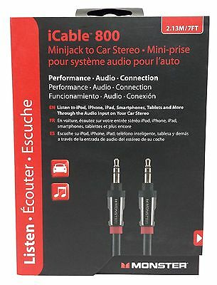 Monster iCable 800 Auxiliary Input Cable For Car & iPod, iPhone, Samsung  - 7 Ft