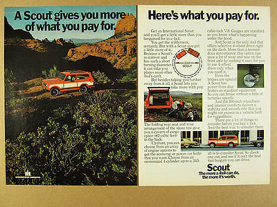 1975 IH International Harvester SCOUT red & white truck photo vintage print Ad