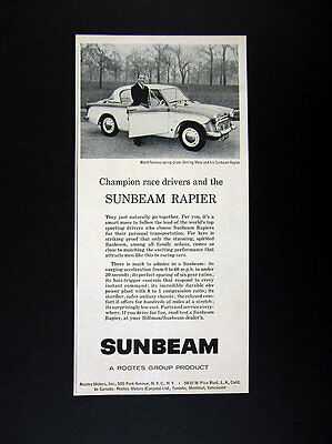 1957 Stirling Moss & Sunbeam Rapier car photo vintage print Ad