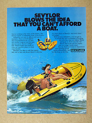 1981 Sevylor K88 Inflatable Boat with Mercury Outboard photo vintage print Ad