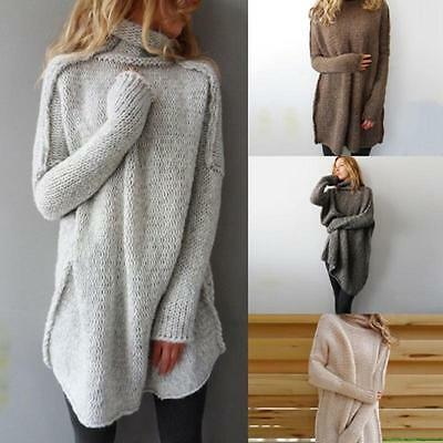 Women Autumn Winter Irregular Pullover Turtleneck Sweater Loose Knitted Top