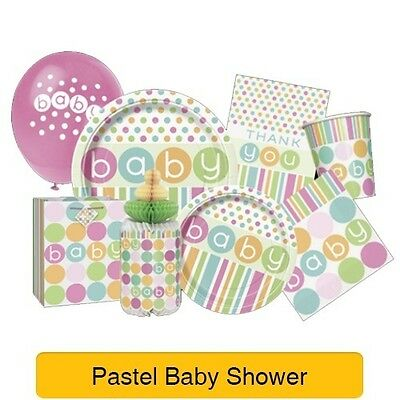 PASTEL Spots/Stripes - BABY SHOWER Party Range - Tableware Balloons Decorations