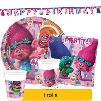 TROLLS - Birthday Party Range (Plates Cups Napkins Balloons & Decorations)
