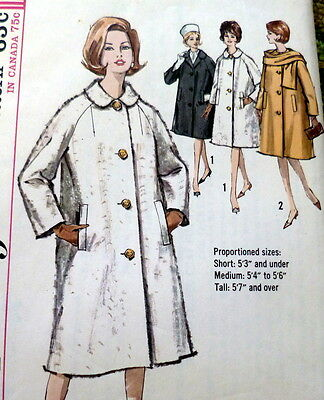 LOVELY VTG 1960s COAT & SCARF Sewing Pattern 14/34
