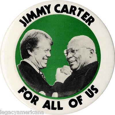 1976 Jimmy Carter & MLK, Sr. FOR ALL OF US Civil Rights Button (1965)