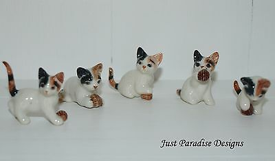 Miniature Ceramic Hand Painted Playing Kittens  ~  Set of 5 ~ Cat Ornament