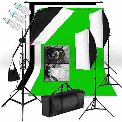 3*625W Kit iluminación Estudio Set 3x Lámpara Softbox luz continua soporte fondo
