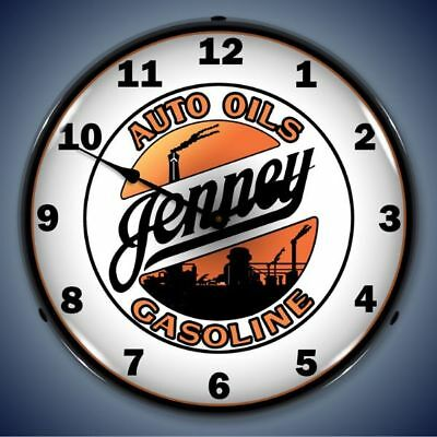 Jenney Jenny Auto Oils Gasoline Led Lighted Wall Clock Advertising Man Cave New