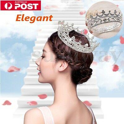 Crystal Rhinestone Diamante Round Crown Tiara Wedding Bridal Party Prom Pageant