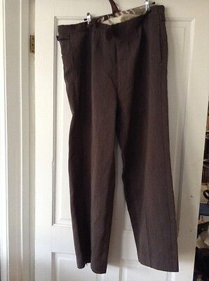 Vintage 50's Fine Stripe High Waist Trousers Button Front Trousers 38 W 30l