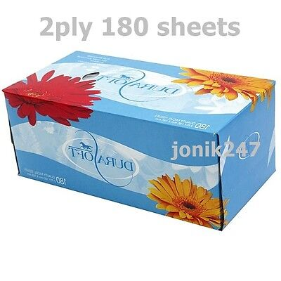36 boxes of Durasoft 2 Ply White Facial Tissue 180 Sheets /  box