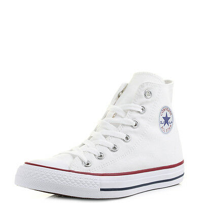 a9738d06d07db MENS WOMENS CONVERSE All Star Hi Top Optical White Trainers Size