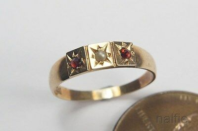 TINY ANTIQUE ENGLISH VICTORIAN 9 CARAT GOLD PEARL & RUBY BABY / CHILD RING c1900