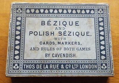 Antique Boxed Set of De La Rue Bezique & Polish Bezique Playing Cards c1910