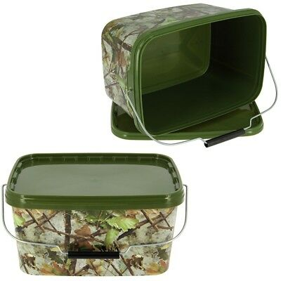 2 X Square 5L Camo Bait Buckets For Boilies Pellets Carp Ngt Fishing Tackle