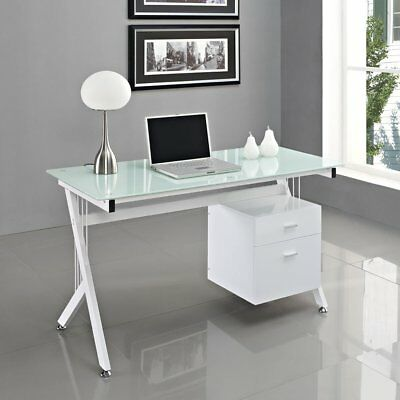 Modern Luxe Home Office Computer Desk Table with Glass Top/Storage Drawers White
