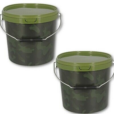 2 X Round 10L Camo Bait Buckets For Boilies Pellets Carp Ngt Fishing Tackle