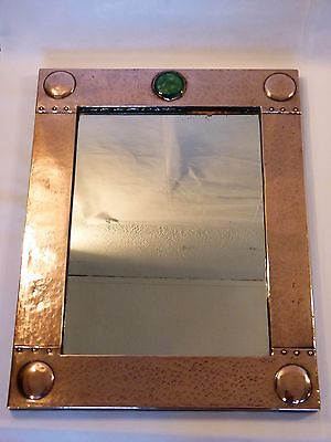 A Fabulous Liberty & Co Planished Copper Arts and Crafts Mirror w/ Ruskin Insert