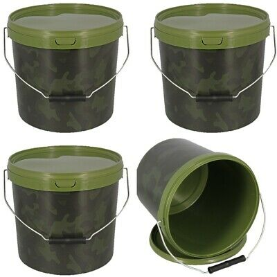 3 X Round 5L Camo Bait Buckets For Boilies Pellets Carp Ngt Fishing Tackle