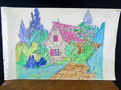Lovely Watercolor Painting Red Roof Cottage Homestead 1940's Original