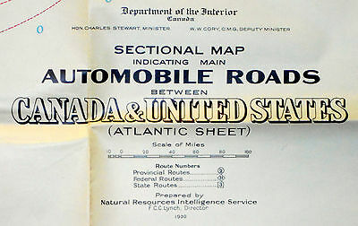 1930 Original Wall Map Atlantic Canada Canadian United States Auto Routes Roads