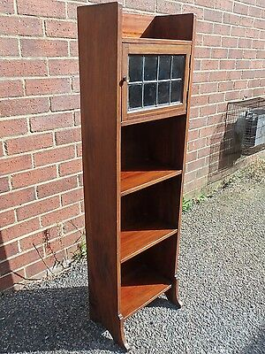Liberty & Co antique Arts & Crafts Caxton solid mahogany inlaid leaded bookcase