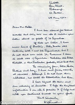1982 Letter from R D Rutter  Battle of Britain  73  Sqn