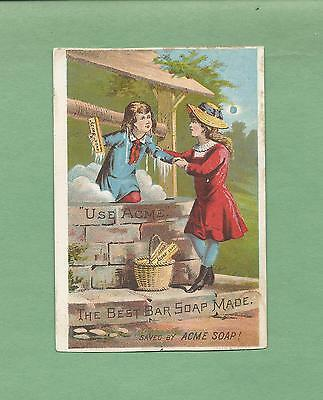 GIRL SAVES BOY FROM WELL On ACME SOAP Victorian Trade Card
